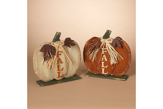 Fall Assorted Wooden Tabletop Fall Pumpkin Décor (Set of 2), , large
