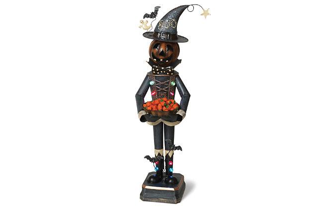 Halloween 3Ft. Lighted Metal Mr. Pumpkin Candy Bowl Holder, , large