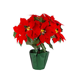Christmas 17.25-Inch Battery Lighted Poinsettia with 9 Lit Flowers, , rollover