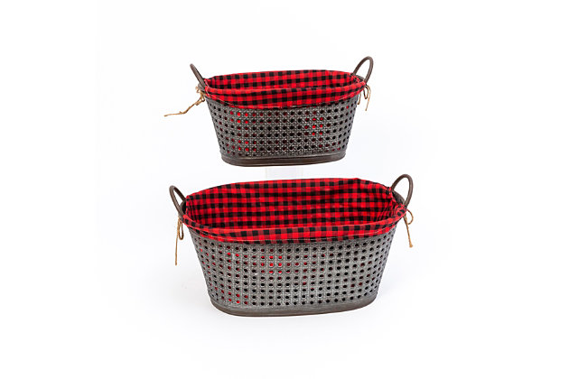 Christmas Nesting Metal Holiday Baskets with Fabric Liner (Set of 2), , large