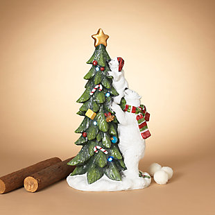 Christmas 28.7-inch Magnesium Polar Bear with Cub Climbing Tree Décor, , rollover