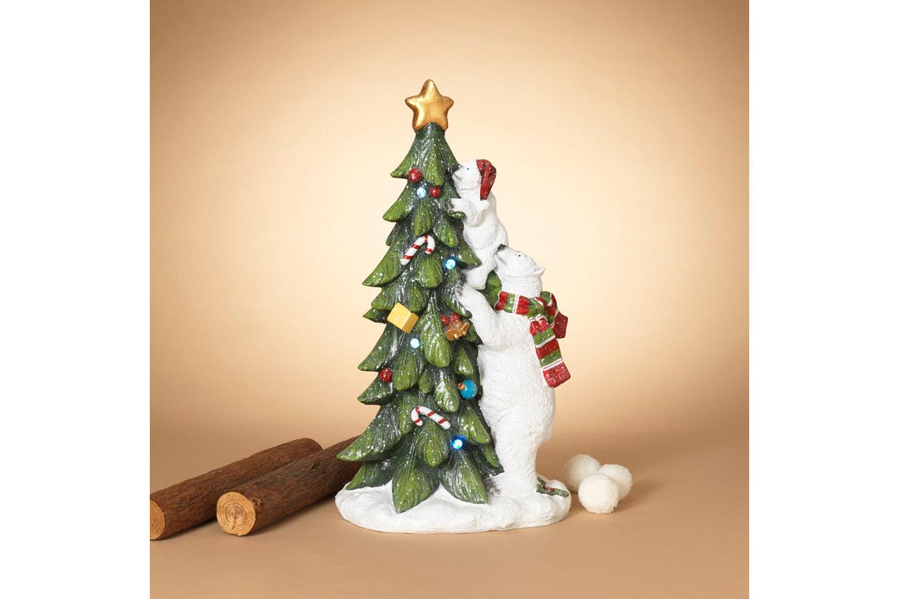 "Christmas 28 7"" Polar Bear with Cub Climbing Tree"
