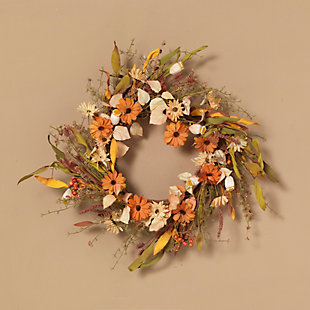 Fall 22-Inch Harvest Wreath with Fall Flowers and Berries, , rollover