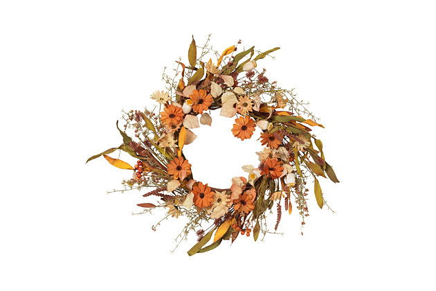 Fall 22-Inch Harvest Wreath with Fall Flowers and Berries, , large