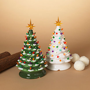 Christmas Assorted Battery Operated Musical Dolomite Trees (Set of 2), , rollover
