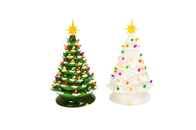 Christmas Assorted Battery Operated Musical Dolomite Trees (Set of 2), , large