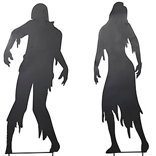 Halloween Assorted Metal Zombie Silhouette Yard Stakes (Set of 2), , large