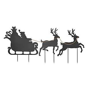 Christmas 86-Inch Santa in Sleigh Metal Silhouette Holiday Yard Decor, , rollover