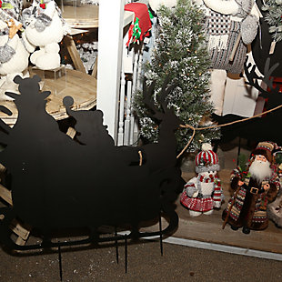 Christmas 86-Inch Santa in Sleigh Metal Silhouette Holiday Yard Decor, , large