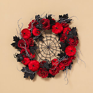Halloween 24-Inch Halloween Spiderweb Wreath with Roses and Pumpkins, , rollover