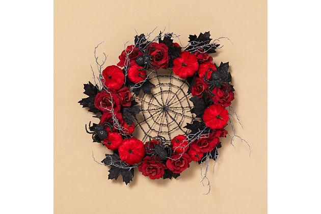 Halloween 24-Inch Halloween Spiderweb Wreath with Roses and Pumpkins, , large