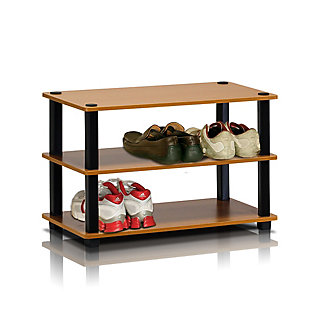 Furinno Turn-S-Tube 3-Tier Shoe Rack, Cherry/Black, rollover