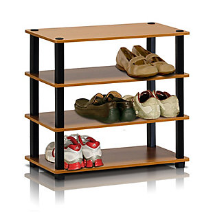 Furinno Turn-S-Tube 4-Tier Shoe Rack, Cherry/Black, rollover