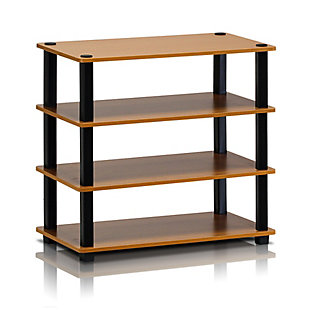 Furinno Turn-S-Tube 4-Tier Shoe Rack, Cherry/Black, large