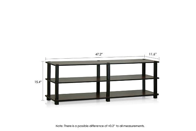 Furinno Turn-S-Tube No Tools 3-Tier Wide Shoe Storage Rack, Brown/Black, large