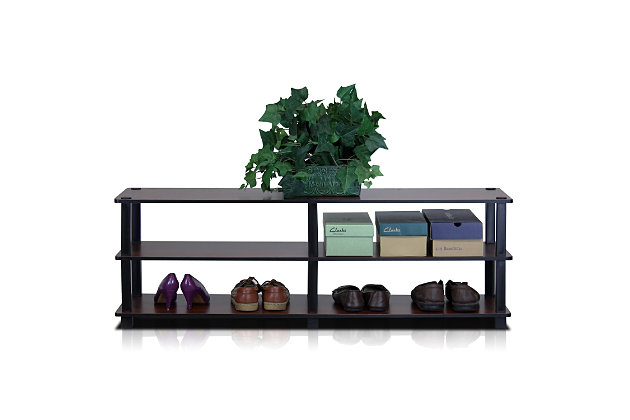 Furinno Turn-S-Tube No Tools 3-Tier Wide Shoe Storage Rack, Cherry/Black, large