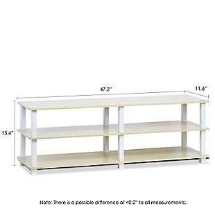 Furinno Turn-S-Tube No Tools 3-Tier Wide Shoe Storage Rack, Steam Beech/White, large