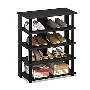 Furinno Turn-N-Tube 5 Tier Shoe Rack, Espresso/Black, rollover
