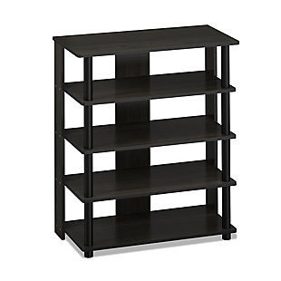 Furinno Turn-N-Tube 5 Tier Shoe Rack, Espresso/Black, large