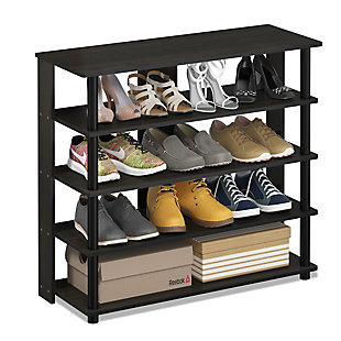 Furinno Turn-N-Tube 5 Tier Wide Shoe Rack, Espresso/Black, rollover