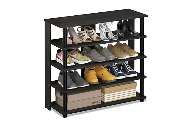 Furinno Turn-N-Tube 5 Tier Wide Shoe Rack, Espresso/Black, large