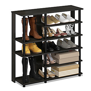 Furinno Turn-N-Tube Multi Storage Shoe Rack, Espresso/Black, rollover