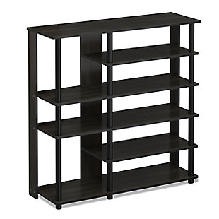 Furinno Turn-N-Tube Multi Storage Shoe Rack, Espresso/Black, large