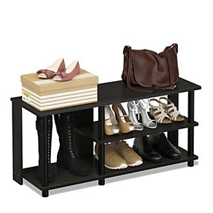 Furinno Turn-N-Tube Compact Multi Storage Shoe Rack, Espresso/Black, rollover