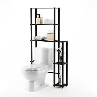 Furinno Turn-N-Tube Toilet Space Saver with 5 Shelves, Espresso/Black, rollover