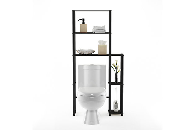 Furinno Turn-N-Tube Toilet Space Saver with 5 Shelves, Espresso/Black, large
