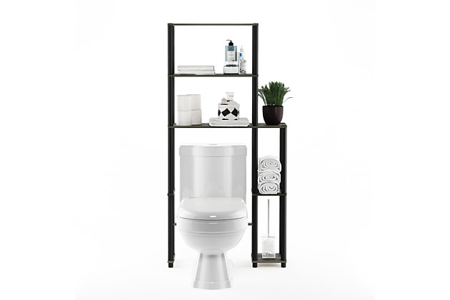 Furinno Turn-N-Tube Toilet Space Saver with 5 Shelves, French Oak Grey/Black, large