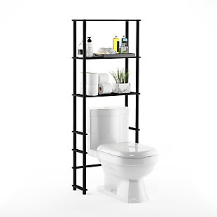 Furinno Turn-N-Tube Toilet Space Saver with 3 Shelves, Espresso/Black, rollover