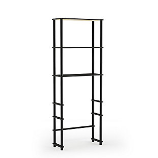 Furinno Turn-N-Tube Toilet Space Saver with 3 Shelves, Espresso/Black, large