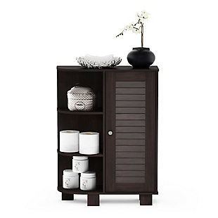 Furinno Indo Storage Shelf with Louver Door Cabinet, Espresso, large