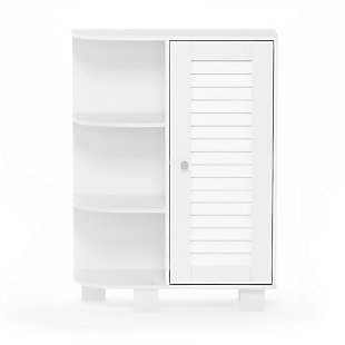 Furinno Indo Storage Shelf with Louver Door Cabinet, White, large
