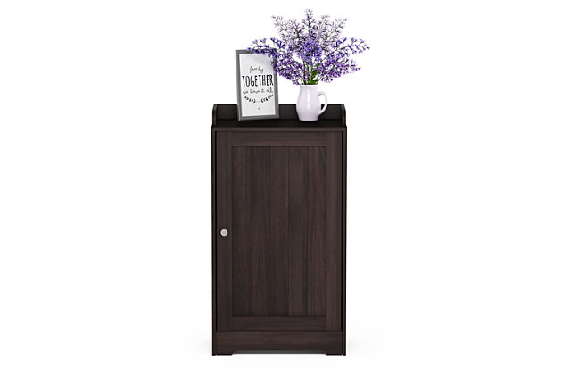 Furinno Indo Standing Louver Door Cabinet, Brown, large