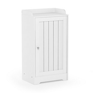 Furinno Indo Standing Louver Door Cabinet, White, large