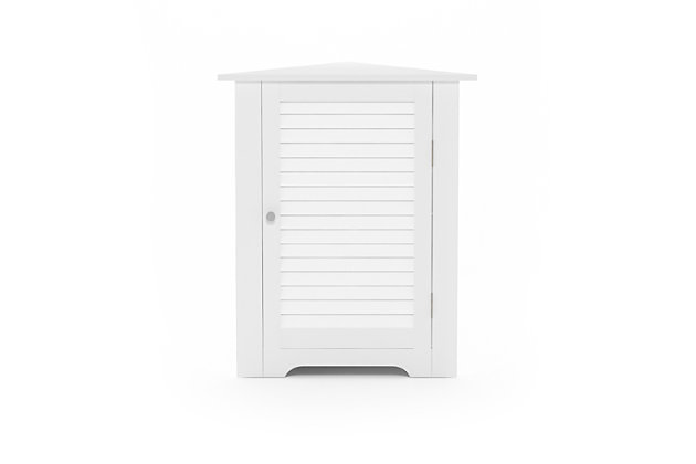 Furinno Indo Corner Louver Door Cabinet, White, large