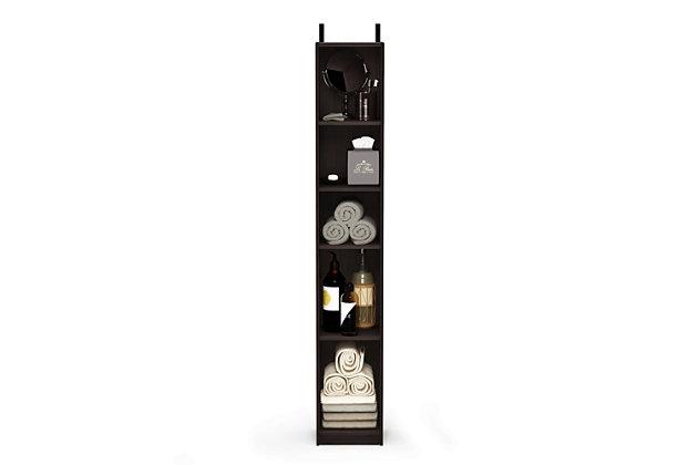 Furinno Indo Slim Open Bath Cabinet, Espresso, large