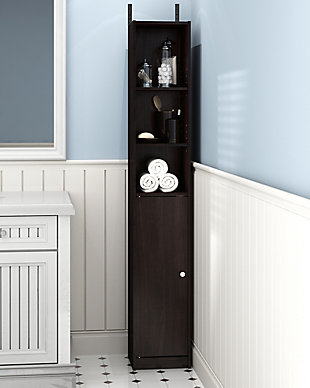 Furinno Indo Slim Door Bath Cabinet, Espresso, rollover
