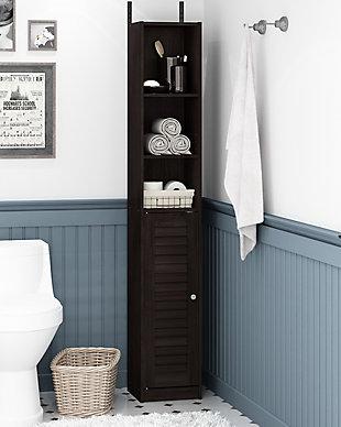 Furinno Indo Slim Luver Door Bath Cabinet, Espresso, rollover
