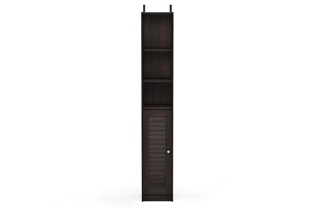 Furinno Indo Slim Luver Door Bath Cabinet, Espresso, large