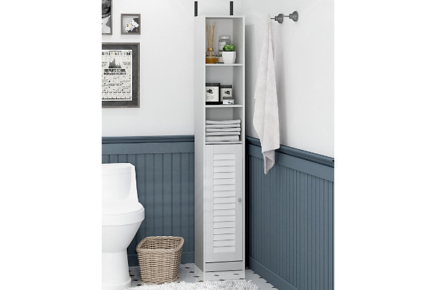 Furinno Indo Slim Luver Door Bath Cabinet, White, large