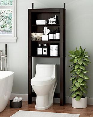 Furinno Indo Open Bath Cabinet, Espresso, rollover