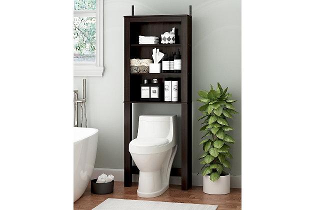Furinno Indo Open Bath Cabinet, Espresso, large