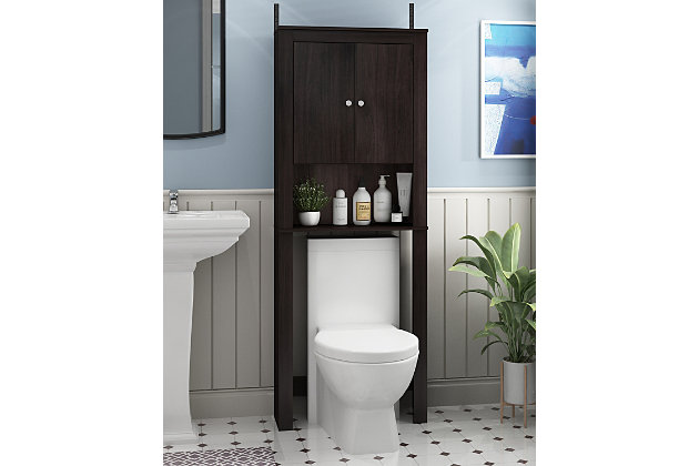 Furinno Indo Double Door Bath Cabinet, Espresso, large