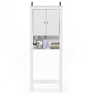 Furinno Indo Double Door Bath Cabinet, White, large
