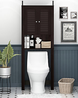 Furinno Indo Louver Door Bath Cabinet, Espresso, rollover