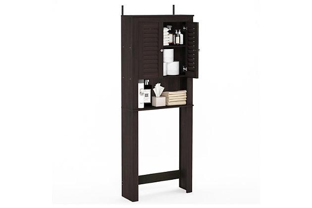 Furinno Indo Louver Door Bath Cabinet, Espresso, large