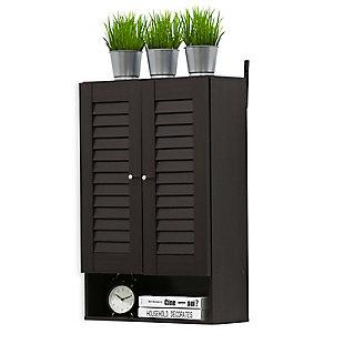 Furinno Indo Double Door Wall Cabinet, Espresso, rollover